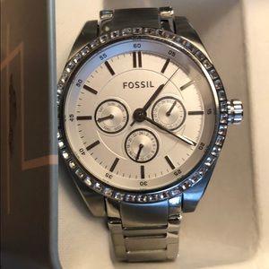 FOSSIL Stainless steel silver rhinestone watch